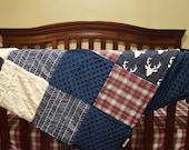 Deer Baby Blanket - Navy Buck, Red Navy Plaid, Navy Herringbone, Ivory Crushed Minky, and Navy Minky Patchwork Baby Blanket