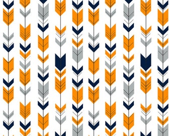 Nursing Pillow Cover - Gray, Navy, Orange Fletching Arrow and Minky Boppy Cover