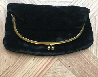 Vintage Black Velvet Evening Bag with Gold Clasp