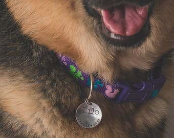 Personalized Pet Tag - Hand Stamped Pet ID Tag - Dog Collar Tag - Engraved Dog Tag - Hand Stamped Pet Tag - Aluminum Dog Tag