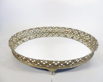 Vanity Dresser Oval Tray Mirror - Vintage Brass Mirror Tray