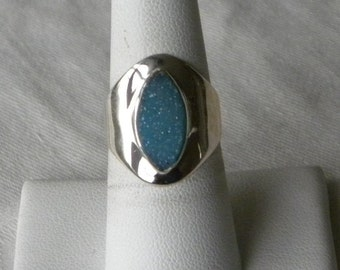Druzy Ring Handmade Blue Druzy 8x15mm Semiprecious Gemstone Ring Sterling Silver Ring Size 7 1/2 Ring Take 20% Off Women's Druzy Jewelry