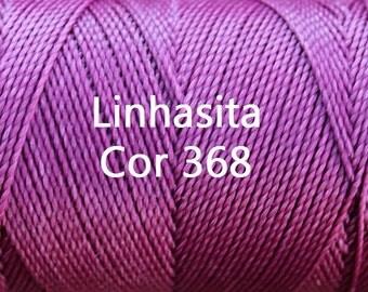 Linhasita Pinkish Purple cor 368, Waxed Polyester Macrame Cord / String / Hilo