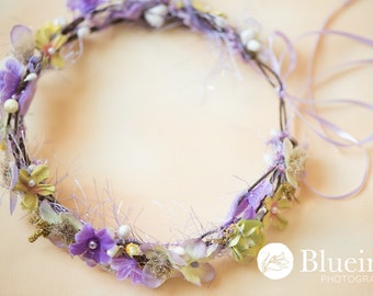 Quick Ship: Lavender N Yellow Cream berries floral headwreath Head halo for Newborns head wreath head halo headband Lavender RTShip