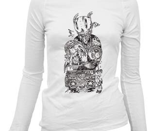 Women's Dopeman Long Sleeve Tee - S M L XL 2x - Ladies' Artist T-shirt, Beery Method, Hobo Eater, Hip Hop, Rap Music, Boombox - White