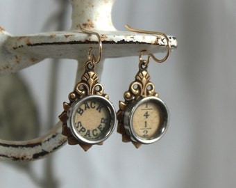 Typewriter key earrings, vintage, antique, original, jewelry, recycled up cycled repurposed altered assemblage