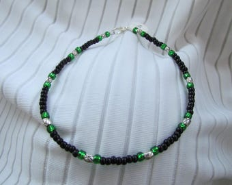 Black Emerald and Silver Anklet - Glass and Lead Free Pewter