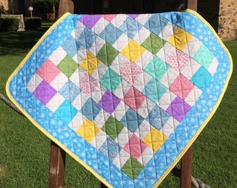 "HOLIDAY SALE It's A Scrap Happy Pastel Delight In This 25"" X 25"" Preemie or Doll Quilt"