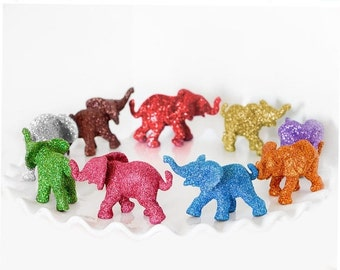 Safari Baby Shower Decoration Custom Color Single Baby Glitter Elephant Jungle Nursery Decor Circus Birthday Party Favor. You Choose Color.