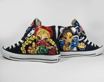 Full painting Fanart on Denim converse, custom shoes, custom paint.