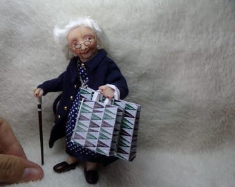 Ooak miniature grandma  for Dollhouse 1:12 scale