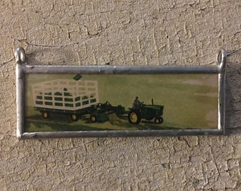 John Deere Green Tractor / Farm Pendant (double sided) made from vintage / antique books