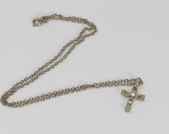 Delicate Rhinestone Cross Necklace  // Vintage Estate Jewelry // fruitsdesbois