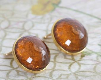 Vintage KENNETH LANE Amber Clip On Statement Earrings // Vintage Estate Costume Jewelry // fruitsdesbois