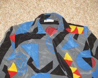Vintage 1980s Avant Garde Art Deco Silk Blouse