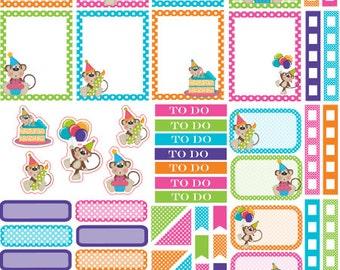 Birthday Monkey Kit Planner Stickers