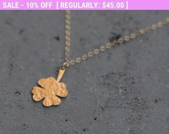 SALE!!! Four Leaf Clover Necklace , Shamrock Necklace , Tiny Clover , Good Luck Necklace , Gold Clover Pendant , Clover Jewelry , Wedding...