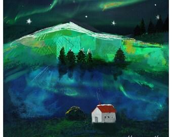 Aurora Borealis Northern Lights Print. 10 x 10 inches