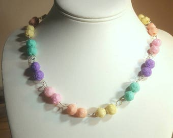 Pastel Rose Chain Necklace