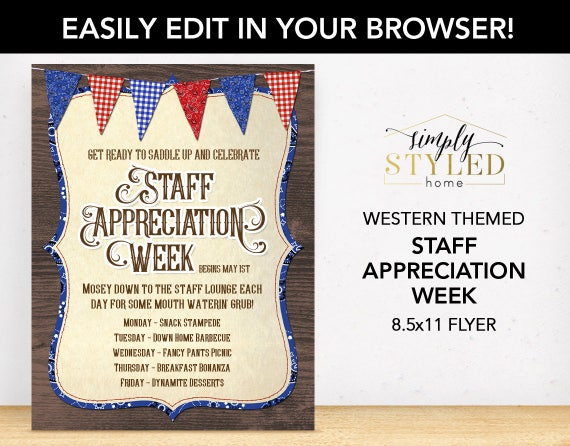 Editable staff appreciation week flyer western party for Nurses week flyer templates