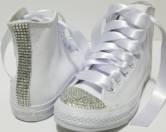 Adult White Leather High Top Bling Glass Crystal Rhinestone Converse Bridal Wedding