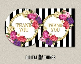 Printable Faux Gold Foil Floral Thank You Favor Tags Stickers Labels Cupcake Toppers. Printable Party Decor Decorations Collage Sheet DT1950