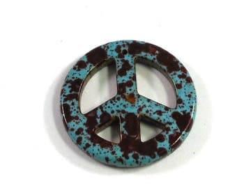 35mm Magnesite Stone Pendant, Dyed Dark Rusty Red, Imitation Turquoise Stone, Peace Sign, Retro Pendant, Craft Beading, Supply Shop