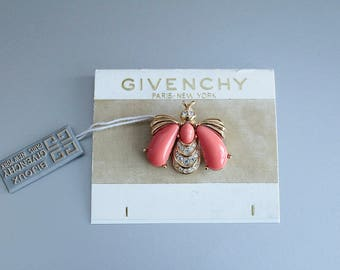 Vintage signed Givenchy Pink  Bee  Brooch/ Pin #1083