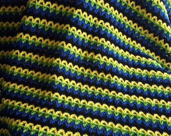 Crochet Striped V-Stitch Blanket, Baby Blanket, Stroller Blanket, Bedding, Twin Bed, Queen Bed, King Bed - Pick Your Color(s)!