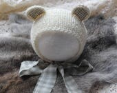 ready to ship, newborn photography prop, newborn natural bear bonnet hat with light sage accent, 0-2 weeks-soft to skin, baby shower gift