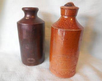 Two Antique Denby Stoneware Ink Crocks