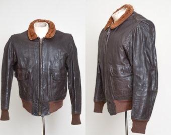 1968 G-1 Flight Jacket USN Brown Leather Bomber Jacket