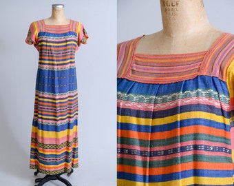 60s Guatemalan Dress Bright Hand Knit Bohemian Dress