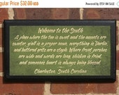 "Customizable ""Welcome to the South"" Vintage Style Wall Plaque / Sign - Your Home Town"