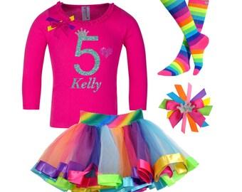 Girls 5th Birthday Outfit, Rainbow Birthday Party, Rainbow Tutu Skirt, Girls Rainbow Tutu, Rainbow Birthday, Birthday Tutu Set, Personalized
