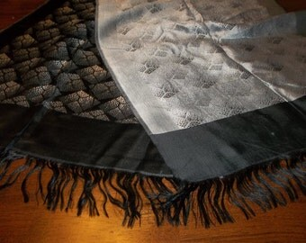 "Antique black & Silver Silk Piano Shawl...16"" by 50"" Long Plus Fringe...Imported rom VIENNA...FREE Shipping"