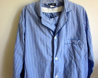 Men's pajamas Oscar de la renta cotton blend blue stripe L large