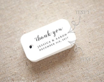 Thank You Wedding Favor Tags - Personalized Gift Tags - Bridal Shower - Thank you tags - Party Tags - Favor Bag Tag (Item code: J669)