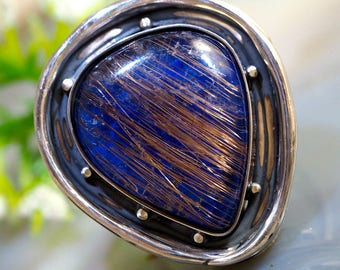 Quartz Ring Lapis Lazuli Doublet Stone Ring Sterling Silver Jewelry