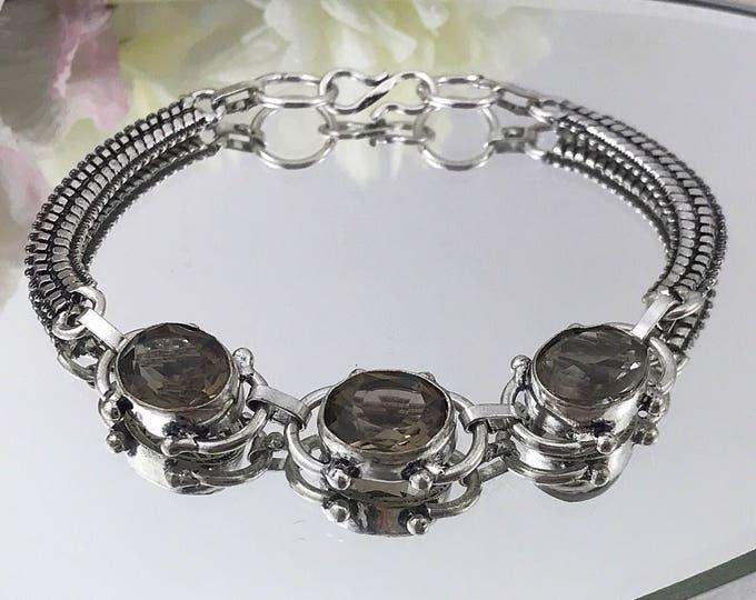 Faceted Smokey Topaz Sterling Bracelet, Glass Stone Bracelet 925 Sterling.Stamped Sterling Topaz Bracelet. Sterling Chain Link Bracelet.