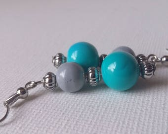 Turquoise and Grey colored Beaded Earrings