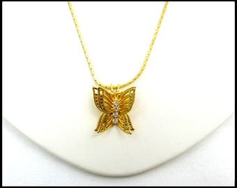 Rhinestone Butterfly Necklace, Gold Cobra Chain, Gold Butterly Pendant, Gold Butterfly Necklace, 3D Butterfly, Gift For Her