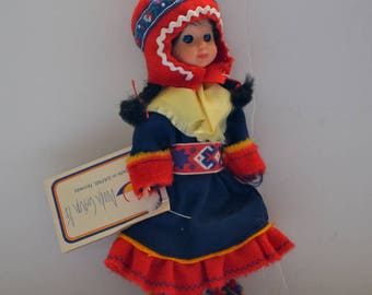 "Vintage Norway, Norwegian souvenir doll Sami Duodji Original Clothes Lappish  Collectible Made in Sarmi Laplanders 7.5"" doll NEW vintage 70s"