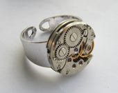 Steampunk Adjustable Watch Ring Gift for Him Mens Birthday gift ideas Mens Ring industrial jewellery Boyfriend gift Anniversary gifts