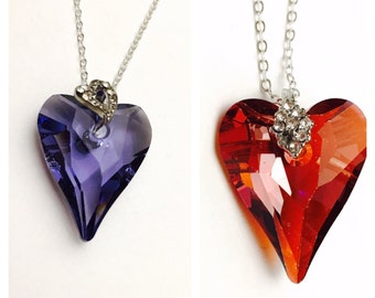 Genuine Swarovski Crystal Heart Shape Pendant, Choose a color, Silver Tone, Clearance Sale, Item No. B012