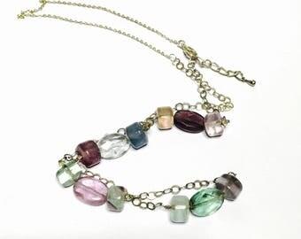 Vintage semi precious stones pendant/Necklace, Silver, boho design, item No S270