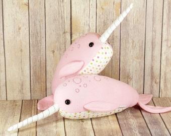 Pink Narwhal Plush Toy, Unicorn of the Sea, Pastel Whale Plushie, Pink Nursery Decor, Stuffed Sea Creature, Arctic Ocean Animal