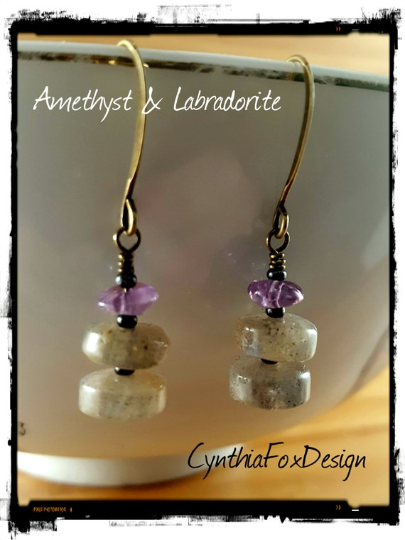 Labradorite and Amethyst Earrings, Purple and Golden Stones, Foxxy Jewelry by Cynthia Fox Design