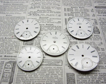Watch Faces Watch Parts Lot of 5 Porcelain Pocket Watch Clock Parts Vintage Antique Clock Faces Time Parts for Art or Jewelry Industrial