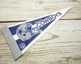 Vintage Dallas Cowboys Football Team 1990s Era NFL Small 9 Inch Mini Felt Pennant Banner Flag vtg Collectible Vintage Display Sports